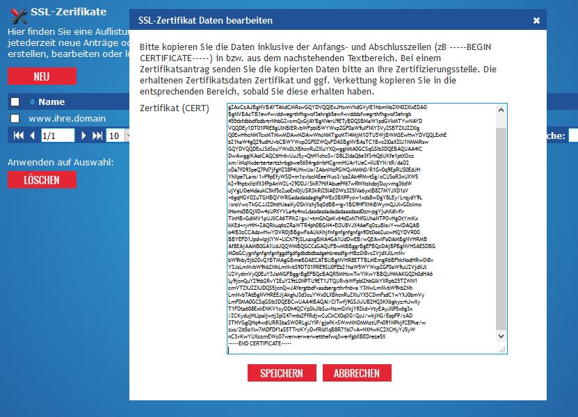 SSL Zertifikat nach Erhalt einfügen und Erreichbarkeit aktivieren ...