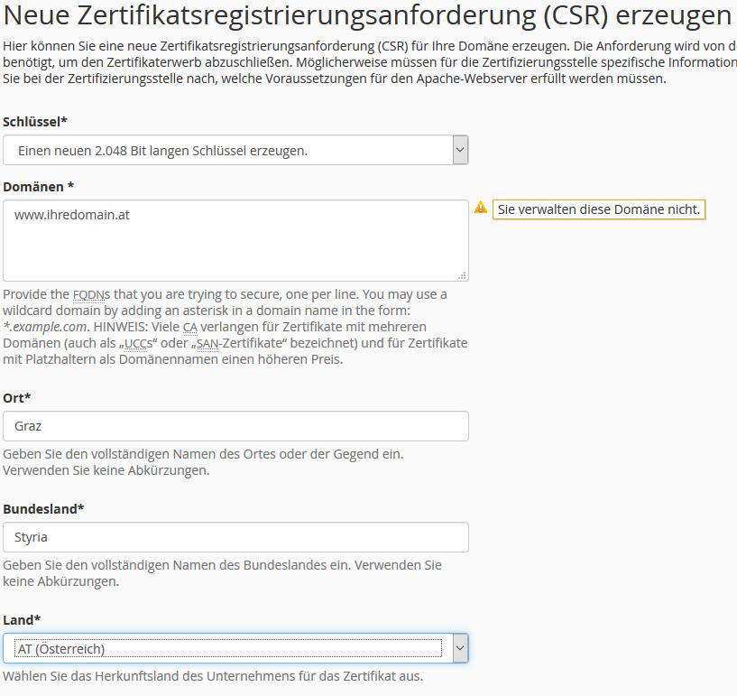 cPanel CSR (Certificate Signing Request = Zertifikatsanforderung ...